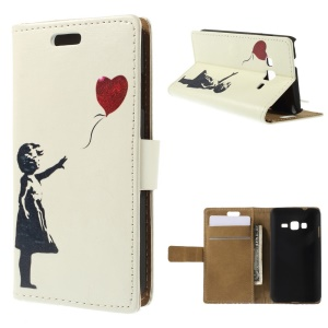 Wallet Leather Stand Case for Samsung Z1 Z130H - Cute Girl Flying Heart Shaped Balloon