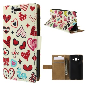 Colorized Hearts Magnetic Leather Stand Cover for Samsung Z1 Z130H