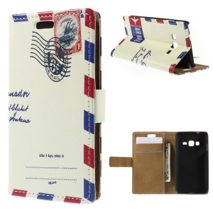 Retro Postmark Magnetic Leather Stand Case for Samsung Z1 Z130H