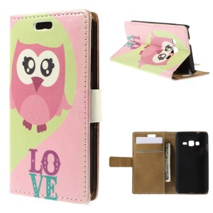 Pink Owl Wallet Leather Stand Case Cover for Samsung Z1 Z130H