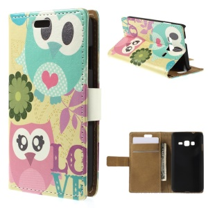 Cute Owl & Flowers Wallet Leather Stand Cover for Samsung Z1 Z130H