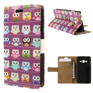 Multiple Owls PU Leather Case for Samsung Z1 Z130H - Purple Background