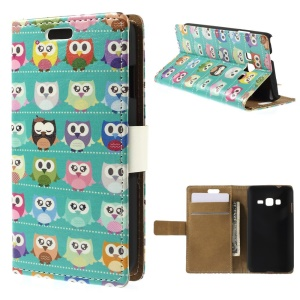 Multiple Owls PU Leather Cover for Samsung Z1 Z130H - Cyan Background
