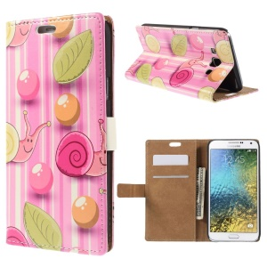 Stand Leather Case for Samsung Galaxy E7 SM-E700 with Card Slots - Snail in Pink Stripe Background