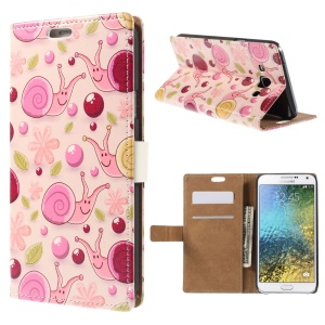 Wallet Leather Case for Samsung Galaxy E7 SM-E700 with Stand - Snail and Flower