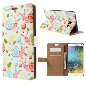 Wallet Leather Cover for Samsung Galaxy E7 SM-E700 with Stand - Blue Snails and Balls