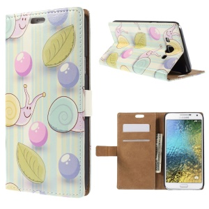 Wallet Leather Shell for Samsung Galaxy E7 SM-E700 with Stand - Snails and Leaves in Blue Stripes