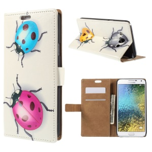 Wallet Leather Case for Samsung Galaxy E7 SM-E700 with Stand - Ladybird