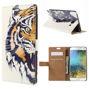 Wallet Leather Case for Samsung Galaxy E7 SM-E700 with Stand - Roaring Tiger