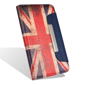 Leather Case with Card Slots for Samsung Galaxy S5 G900 - Retro British UK Flag