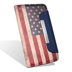 Retro Adhesive Sticker Leather Case for Samsung Galaxy Note Edge N915 - Stars and Stripes