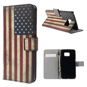 PU Leather Case Wallet Stand for Samsung Galaxy S6 edge G925 - Vintage American Flag