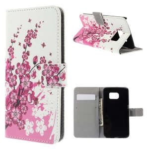 Stand Leather Cover with Card Slots for Samsung Galaxy S6 edge G925 - Plum Blossom