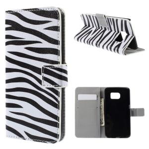 Folio Leather Cover Card Cash Holder for Samsung Galaxy S6 edge G925 - Zebra Stripe
