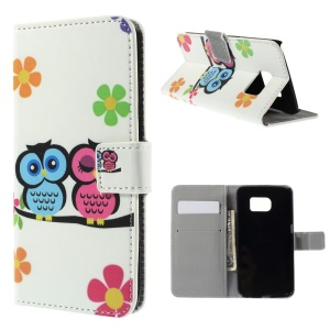 PU Leather Case Wallet Stand for Samsung Galaxy S6 edge G925 - Owl Lovers and Flowers