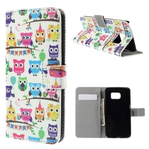 Magnetic PU Leather Case for Samsung Galaxy S6 edge G925 - Lovely Owls on Branches