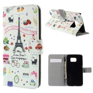 Magnetic Leather Wallet Case for Samsung Galaxy S6 edge G925 - Palettes Sweet Street