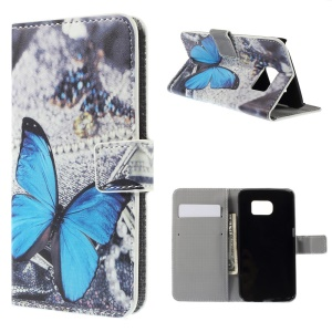 Magnetic Leather Stand Cover for Samsung Galaxy S6 edge G925 - Blue Butterfly