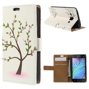 Tree with Flowers for Samsung Galaxy J1 / J1 4G Wallet Leather Stand Case