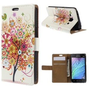 Tree and Butterflies Wallet Leather Shell for Samsung Galaxy J1 / J1 4G with Stand