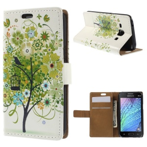 Lush Tree and Bird Wallet Leather Cover for Samsung Galaxy J1 / J1 4G with Stand