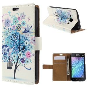 Blue Flowering Tree Wallet Leather Case for Samsung Galaxy J1 / J1 4G with Stand