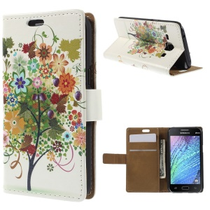 Fruited Tree Wallet Flip Leather Case for Samsung Galaxy J1 / J1 4G with Stand