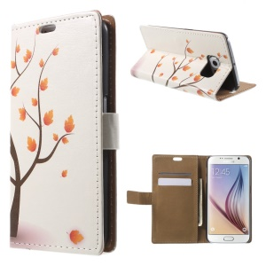Wallet Leather Case for Samsung Galaxy S6 G920 with Stand - Maple Tree