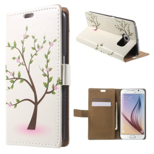 Card Holder Leather Cover for Samsung Galaxy S6 G920 with Stand - Flowering Green Tree