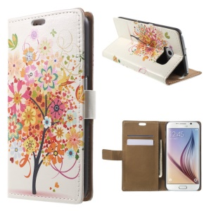 Card Holder Leather Shell for Samsung Galaxy S6 G920 with Stand - Butterflies and Flowering Tree