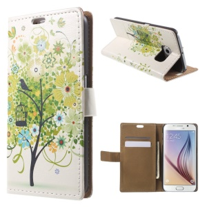 Card Holder Leather Cover for Samsung Galaxy S6 G920 with Stand - Lush Tree and Bird