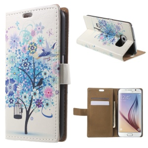Card Holder Leather Cover for Samsung Galaxy S6 G920 with Stand - Blue Tree and Bird Cage