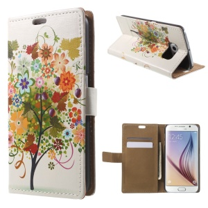 Card Holder Leather Cover for Samsung Galaxy S6 G920 with Stand - Fruited Tree