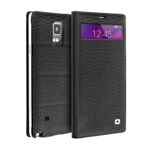 QIALINO Water-wave Genuine Leather Case for Samsung Galaxy Note 4 N910 with Mini View Window - Black