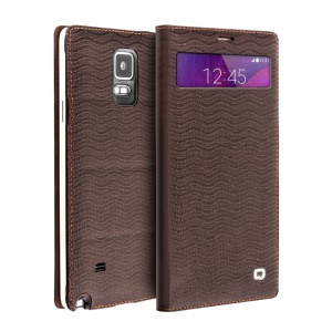 QIALINO Water-wave Genuine Leather Case for Samsung Galaxy Note 4 N910 with Mini View Window - Brown