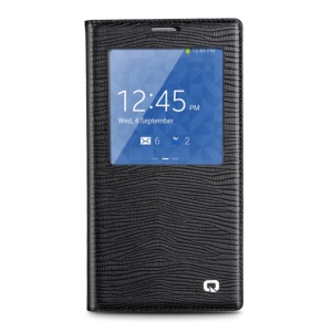 QIALINO Lizard Skin Genuine Leather Smart View Battery Housing Samsung Galaxy Note 3 N900 - Black