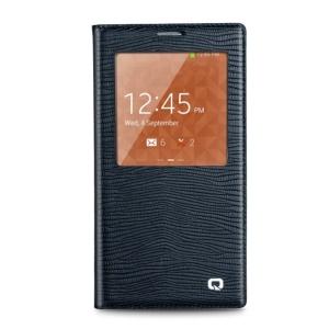 QIALINO Lizard Skin Genuine Leather Smart View Battery Back Housing Samsung Galaxy Note 3 N900 - Blue