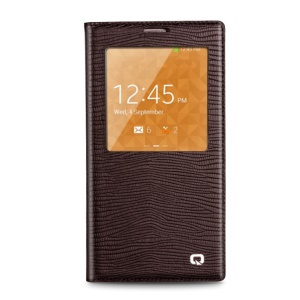 QIALINO Lizard Skin Genuine Leather Smart View Battery Housing Samsung Galaxy Note 3 N900 - Brown