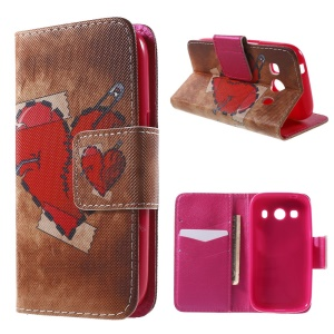 Red Heart Wallet Leather Cover for Samsung Galaxy Ace Style LTE G357FZ / Ace 4 G357FZ with Stand