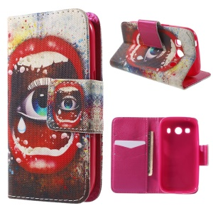 Big Eye and Sexy Lip Wallet Leather Cover for Samsung Galaxy Ace Style LTE G357FZ / Ace 4 G357FZ with Stand