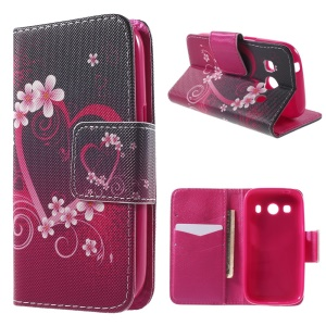 Heart Flowers Wallet Leather Cover for Samsung Galaxy Ace Style LTE G357FZ / Ace 4 G357FZ with Stand