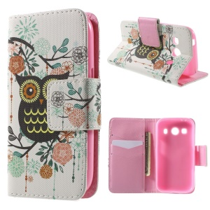 Owl Flowers Wallet Leather Cover for Samsung Galaxy Ace Style LTE G357FZ / Ace 4 G357FZ with Stand