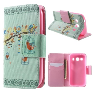 Tree and Cage Wallet Leather Cover for Samsung Galaxy Ace Style LTE G357FZ / Ace 4 G357FZ with Stand