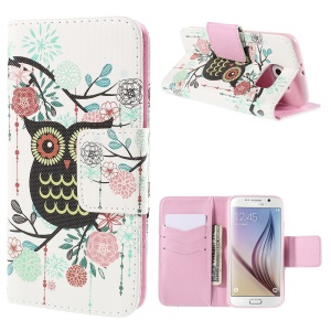 Owl Flowers Leather Case for Samsung Galaxy S6 G920 with Card Slots