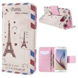 Eiffel Tower Wallet Stand Leather Case for Samsung Galaxy S6 G920