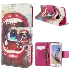 Sexy Lip and Eye Wallet Stand Leather Case for Samsung Galaxy S6 G920