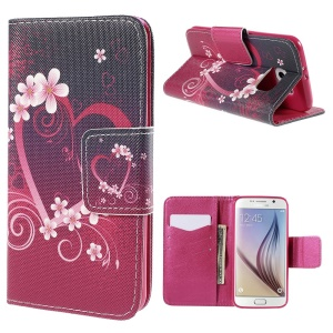Heart Flowers Flip Leather Case for Samsung Galaxy S6 G920 with Card Holder