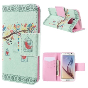 Branch and Cage Wallet Stand Leather Case for Samsung Galaxy S6 G920