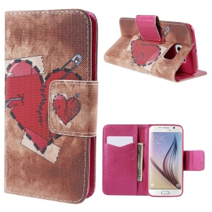Red Heart Wallet Stand Leather Case for Samsung Galaxy S6 G920