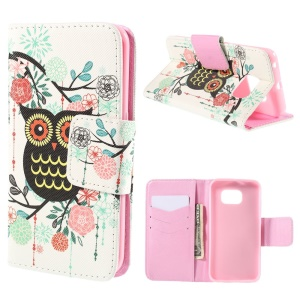 Owl Flowers Leather Case for Samsung Galaxy S6 Edge G925 with Card Slots